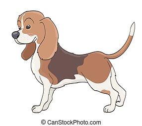 dessin animé, vecteur, chien, illustration, white.