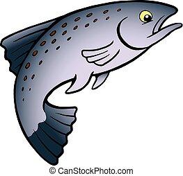 Fish sauter dessin anim truite fish isol - Dessin truite ...