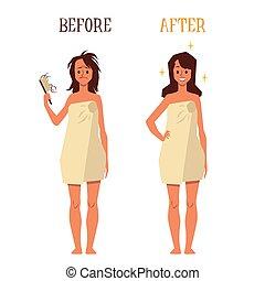 dessin animé, vecteur, illustration, isolated., cheveux, avant, plat, femme, après, traitement