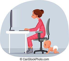 dessin animé, vecteur, maison, illustration, mère, fonctionnement