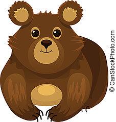 dessin animé, vecteur, ours, plat