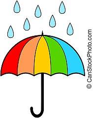 dessin animé, vecteur, parapluie, illustration., rain.