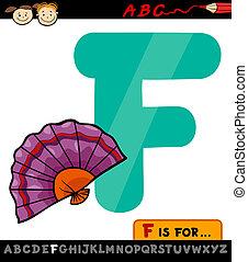 dessin animé, ventilateur, lettre, illustration, f