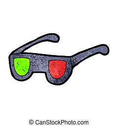 dessin animé, verres rayon x