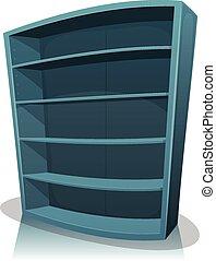 dessin animé, vide, bibliothèque, étagère