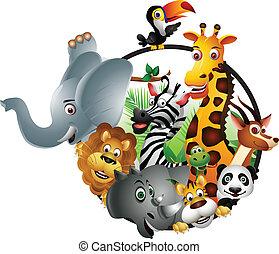 dessin animé, vie sauvage, animal, isolé