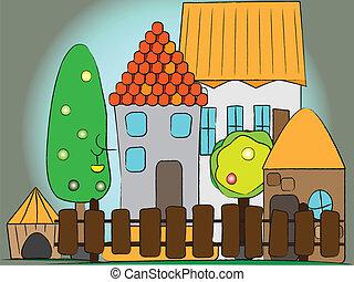 dessin animé, village