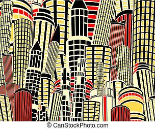 dessin animé, ville