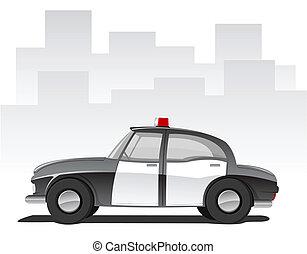 dessin animé, voiture, vecteur, police