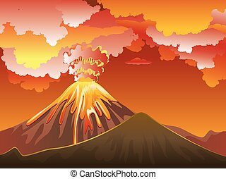Volcan Vecteur Eruption Illustration Dessin Animé Vecteur