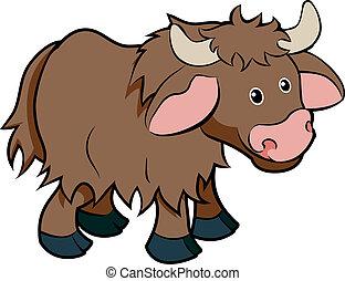 dessin animé, yak, animal, caractère