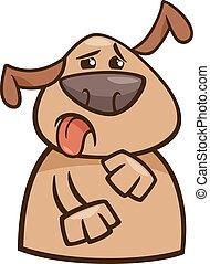 dessin animé, yuck, chien, illustration, exprimer