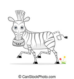 dessin animé, zebra