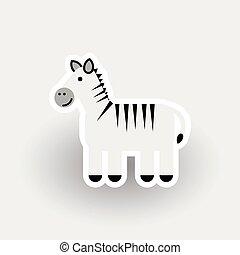 dessin animé, zebra, heureux, caractère