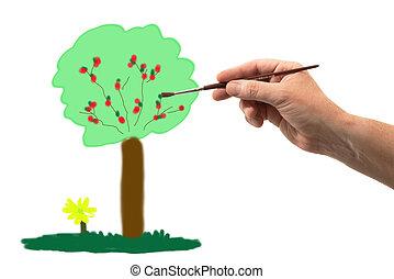 dessin, arbre, brosse, main