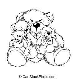 dessin, arc, ours nounours