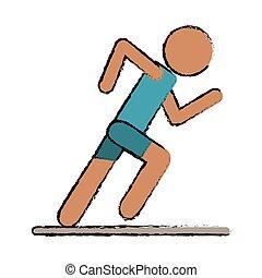 Actif coureur athl tisme hommes sport coureur hommes courant illustration silhouettes - Coureur dessin ...