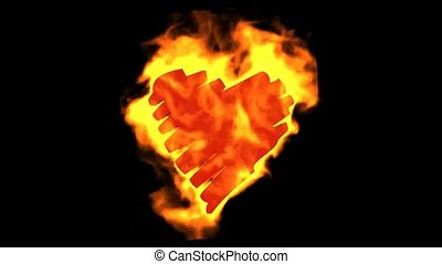 dessin, brûlé, coeur