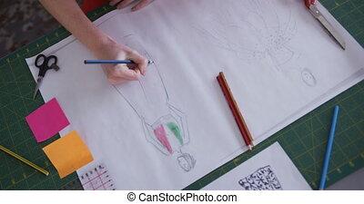 dessin, bureau, femme, mode, caucasien