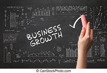 dessin, business, nouveau, main, concept