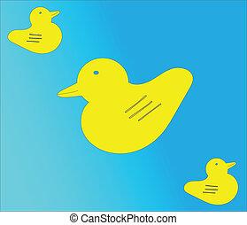 dessin, canard, vecteur, dessin animé, caoutchouc