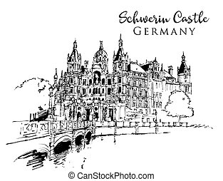 dessin, château, schwerin, illustration, croquis