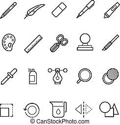dessin, conception, outils, vecteur, ligne, texte, rédacteur, icônes, ensemble, pour, toile, ui, app