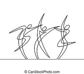 dessin, continu, ligne, résumé, danseurs