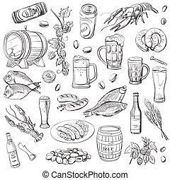 dessin, croquis, ensemble, beer., vecteur, main