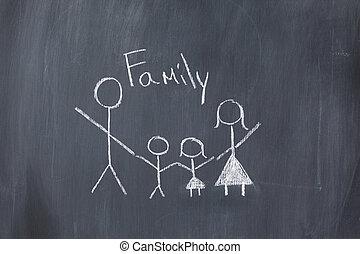 dessin, de, a, famille, sur, a, tableau noir