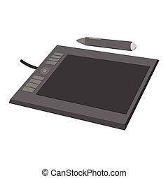 dessin, dessin animé, tablette, icône