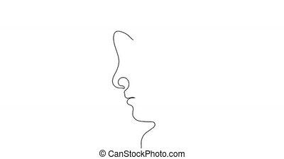 dessin, deux, continu, ligne, faces.