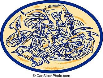 dessin, dragon, george st, combat