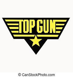 dessin, escuela, cima, -, arma de fuego, 1, insignia