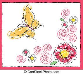 dessin, fleurs, papillon