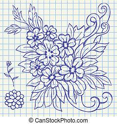 dessin, fleurs, pousse feuilles, illustration, main