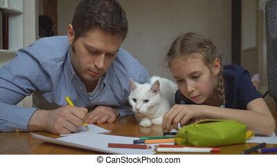 dessin, floor., famille, chat