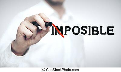 dessin, homme affaires, concept, impossible