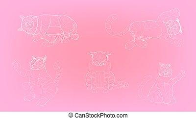 dessin, illustration, élément, différent, croquis, action, vecteur, eps10, cat., mignon