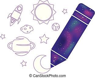 dessin, illustration, crayon, espace