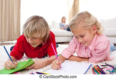 dessin, joyeux, enfants, mensonge, plancher