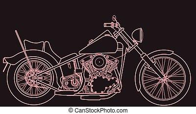 dessin ligne, motocyclette, signe