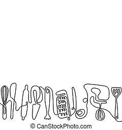 dessin ligne, utensils., vecteur, art, cuisine, une, différent, arrière-plan., coutellerie