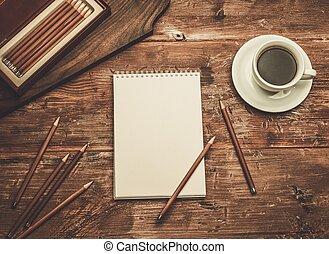 dessin, luxueux, bois, outils, table