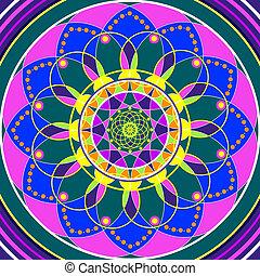 dessin, mandala, sacré, floral, géométrique, cercle