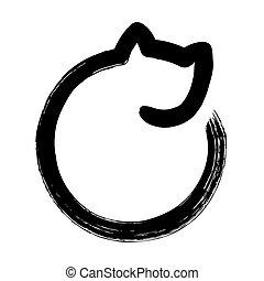 dessin, minimal, chat