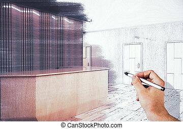 dessin, moderne, réception, bureau, main