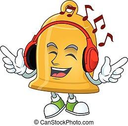 dessin, musique écouter, cloche, casque à écouteurs, dessin animé, conception