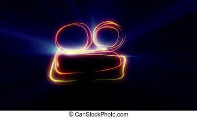 dessin, néon, ligne, symbole, appareil photo
