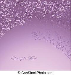 dessin, oarnate, fond, lilas, main